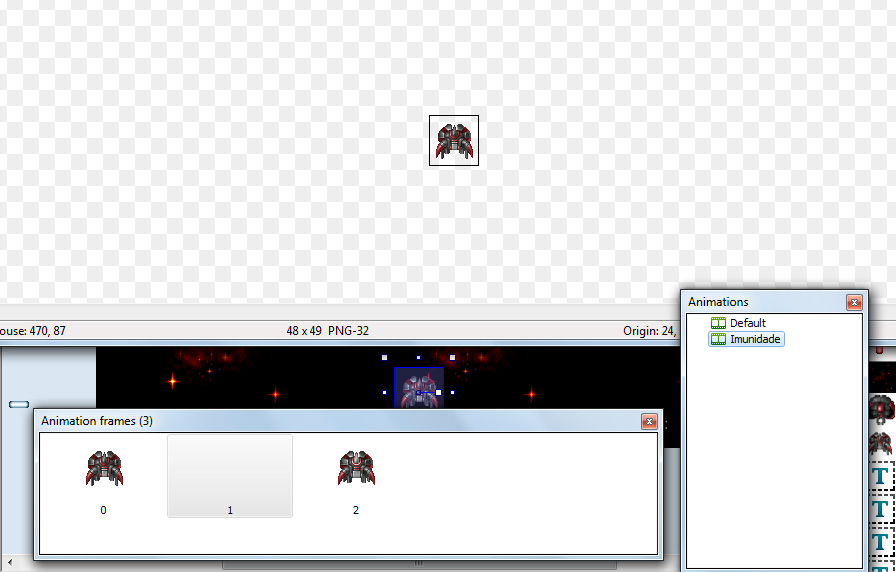 Animação da nave do jogador